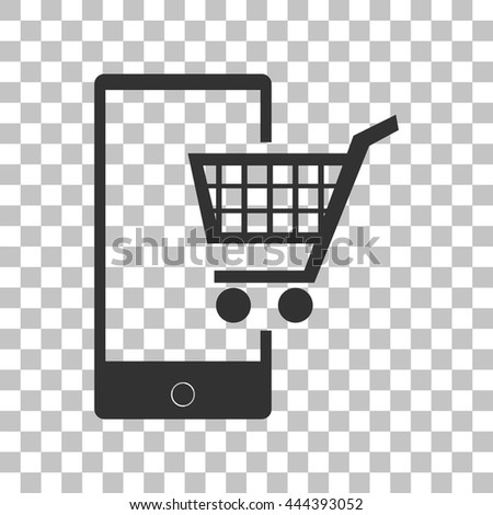 Shopping on smart phone sign. Dark gray icon on transparent background. - stock vector
