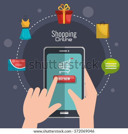 Shopping online and digital marketing  - stock vector