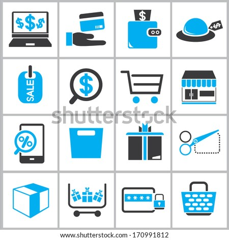 shopping online icons, e commerce icons set, black and color theme icons