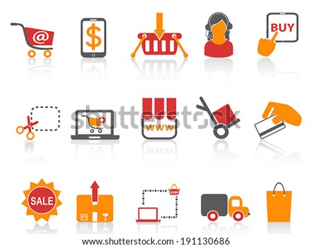 shopping online icons orange series  - stock vector