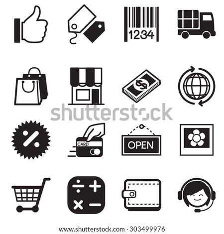 Shopping online silhouette icons  Set