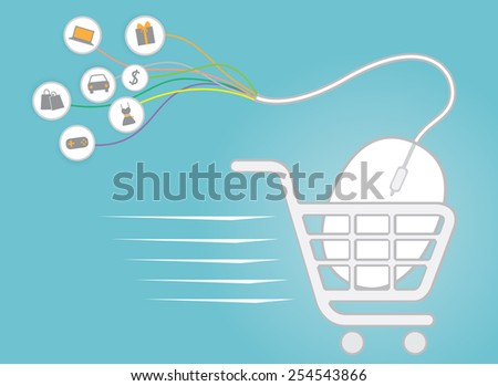 shopping online use mouse, e-commerce concept vector - stock vector