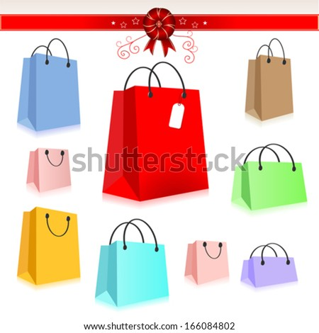 Shopping Package Set - stock vector