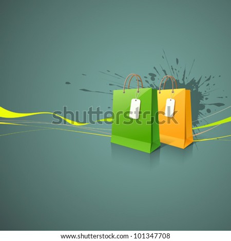 Shopping paper bag green and yellow empty, vector illustration