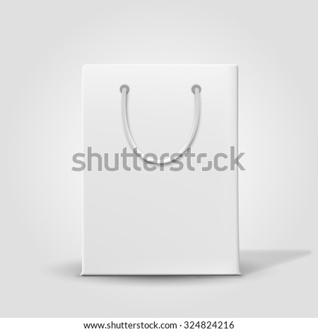 Shopping paper bag isolated on white. Vector - stock vector