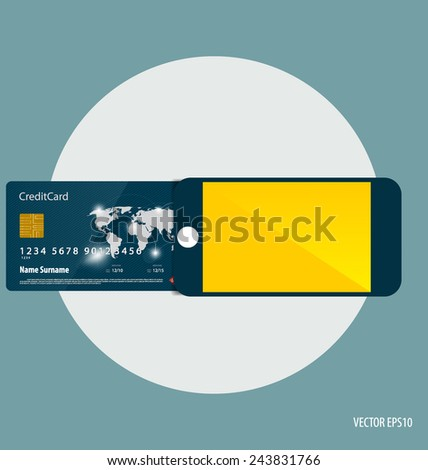 Shopping payment concept. Mobile smart phone with credit card. - stock vector