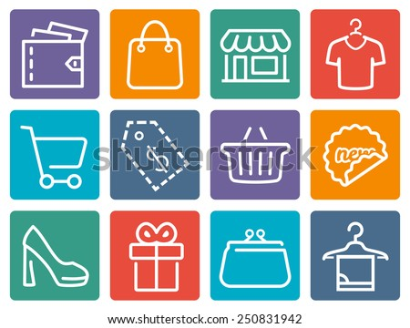 Shopping related vector icon set - stock vector