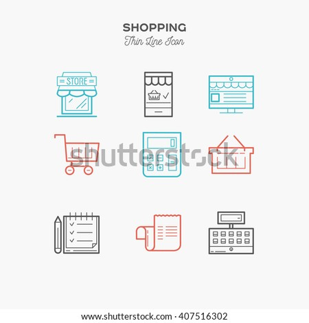 Shopping, retail, delivery, gift card, discount and more, thin line color icons set, vector illustration - stock vector