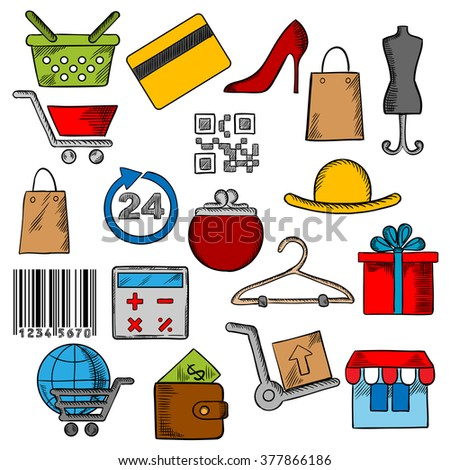 Shopping, retail industry and commerce icons with shopping cart, basket and bags, credit card, wallet, money, delivery and barcode, store, qr code, gift box and calculator, shoes and hat