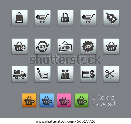 Shopping // Satinbox Series -------It includes 5 color versions for each icon in different layers --------- - stock vector