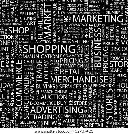 SHOPPING. Seamless vector background. Wordcloud illustration.