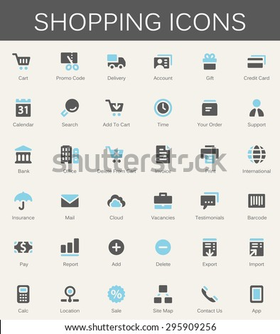 Shopping services and finance tools icons. Modern vector pictograms - stock vector