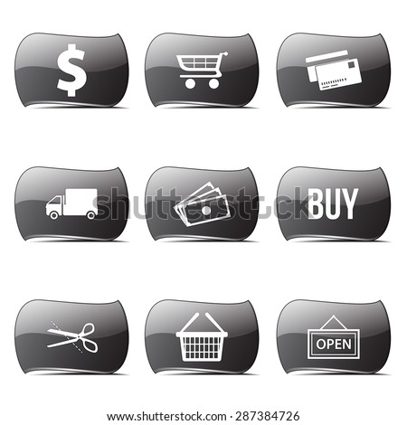 Shopping Sign Black Vector Button Icon Design Set