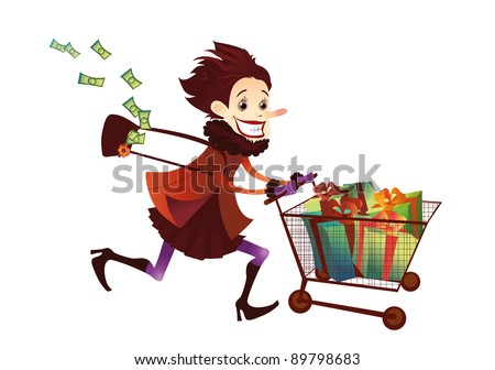 Money fever stock photos images pictures shutterstock - Shopping cash card paying spending ...
