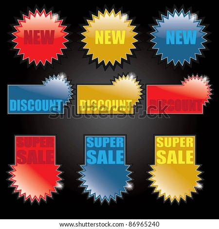 Shopping tags - labels - stock vector