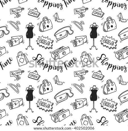 shopping time doodle, shopping background - stock vector