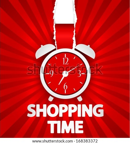 Shopping time poster design with alarm clock - stock vector