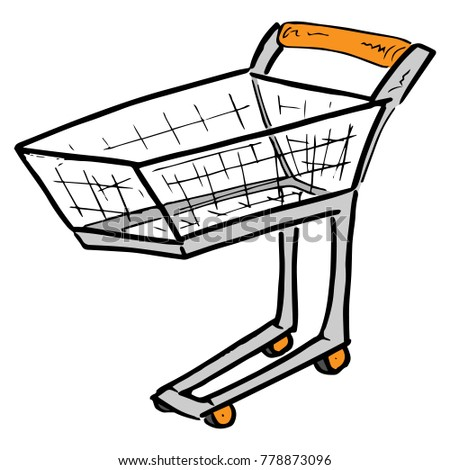 Shopping trolley for shopping. Shopping basket. Vector illustration.