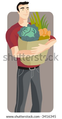Shopping vector illustration series. Shopping man. Check my portfolio for much more of this series as well as thousands of other great vector items. - stock vector