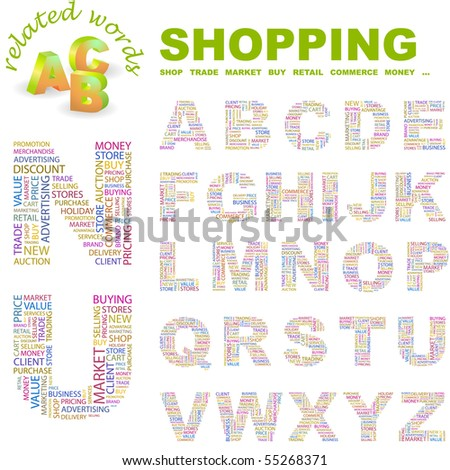 SHOPPING. Vector letter collection. Wordcloud illustration. - stock vector