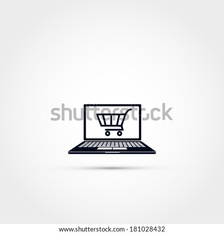 Shopping via computer -icon - stock vector
