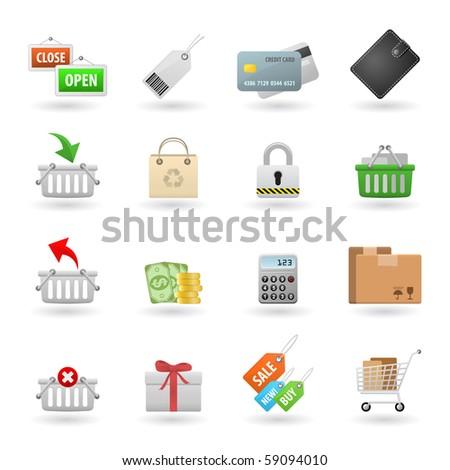 Shopping Web Icon Set - stock vector