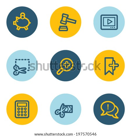 Shopping web icon set 3 , blue and yellow circle buttons   - stock vector