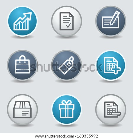 Shopping web icons, circle blue buttons - stock vector