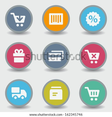 Shopping web icons, color circle buttons - stock vector