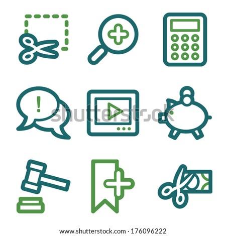 Shopping web icons, green line set - stock vector