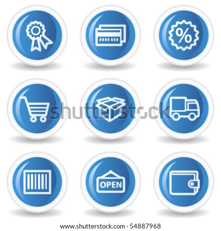 Shopping web icons set 2, blue glossy circle buttons - stock vector