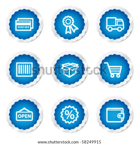 Shopping web icons set 2, blue stickers series - stock vector