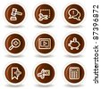 Shopping web icons set 3, chocolate buttons - stock vector