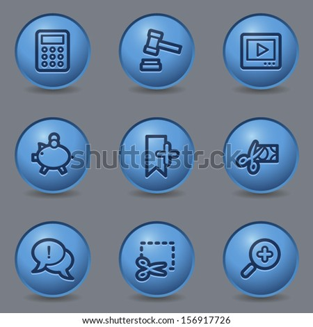 Shopping web icons set 3, circle blue buttons - stock vector