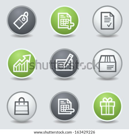 Shopping web icons set 1, circle buttons - stock vector