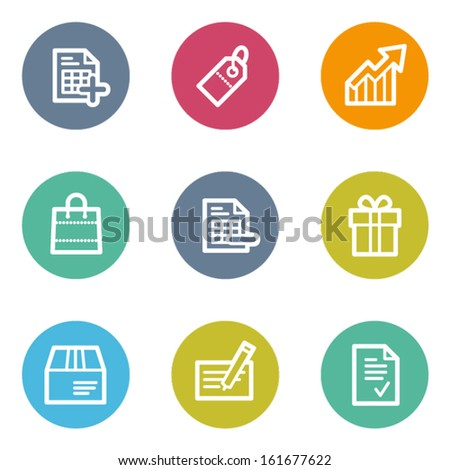 Shopping web icons set 1, color circle buttons - stock vector