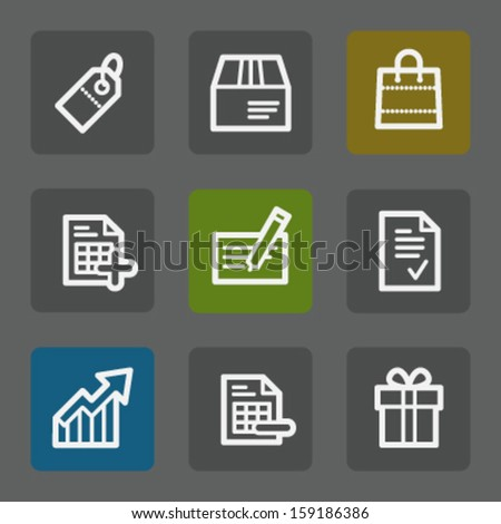 Shopping web icons set 1, flat buttons - stock vector