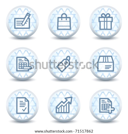Shopping web icons set 1, glossy circle buttons - stock vector