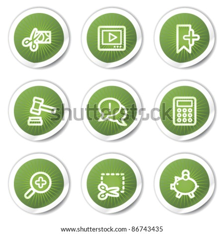 Shopping web icons set 3, green stickers - stock vector