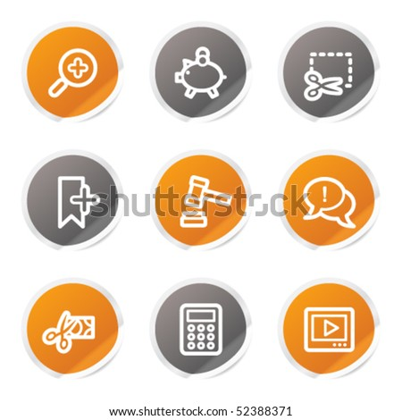 Shopping web icons set 3, orange and grey stickers - stock vector