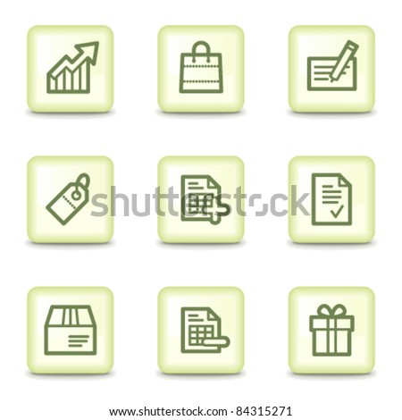 Shopping  web icons set 1, salad green buttons - stock vector