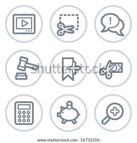 Shopping web icons set 3, white circle series - stock vector