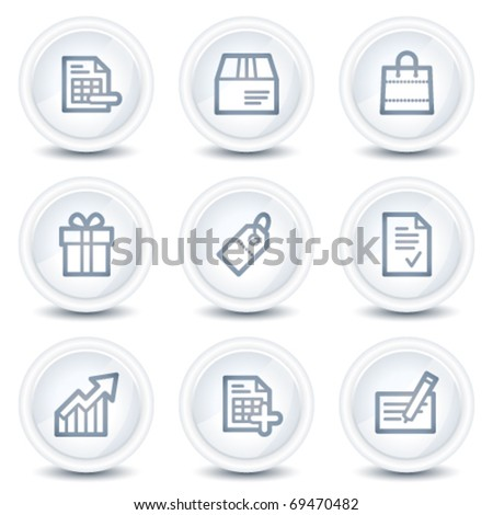 Shopping web icons set 1, white glossy circle buttons - stock vector