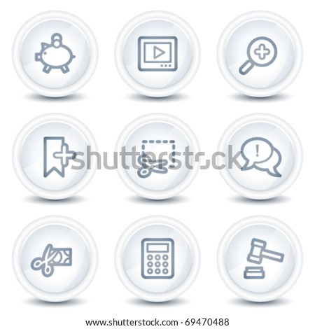 Shopping web icons set 3, white glossy circle buttons - stock vector