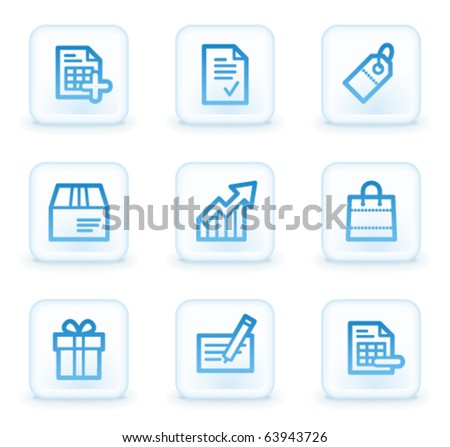Shopping web icons set 1, white square buttons - stock vector