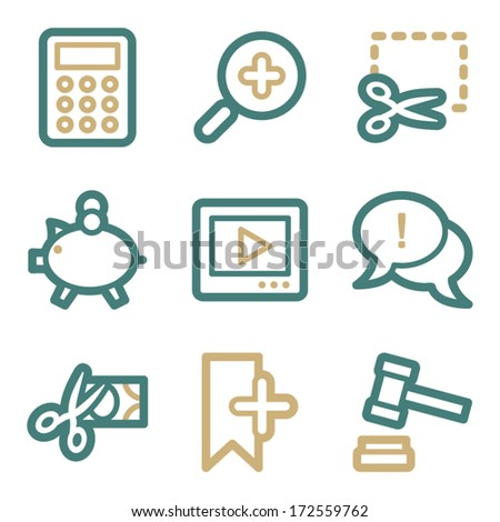 Shopping web icons, two color series - stock vector