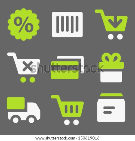 Shopping web icons, white and green on grey - stock vector