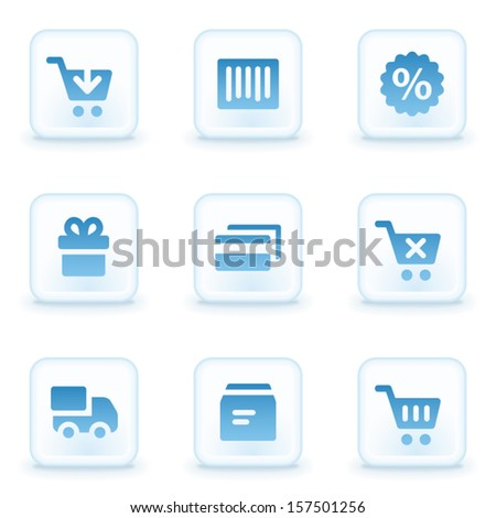 Shopping web icons, winter buttons - stock vector