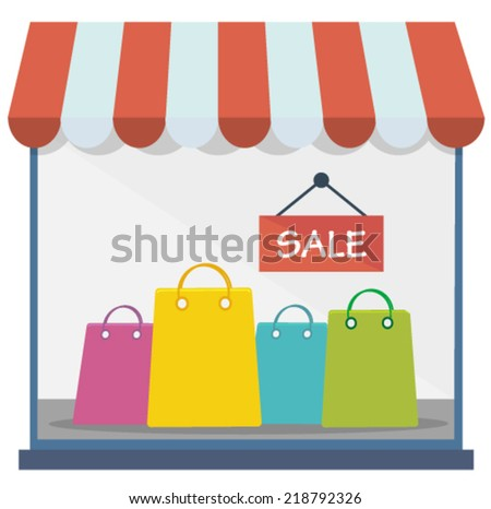 shopping window with sale sign and bags - flat design vector  - stock vector