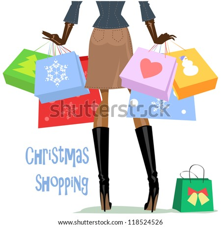 Shopping woman, girl carrying bags, Christmas shopping. - stock vector